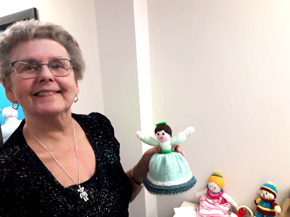 Our volunteer and trustee, Jean, with Craft Club dolls