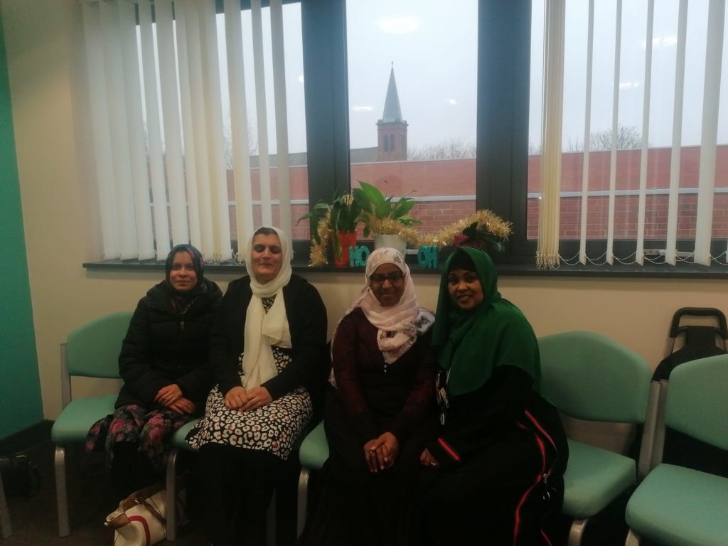Volunteers with Saada, one of our members of staff