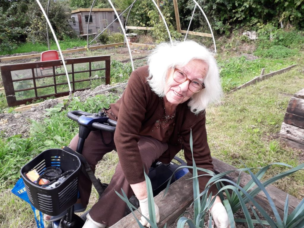 Janet at the allotment