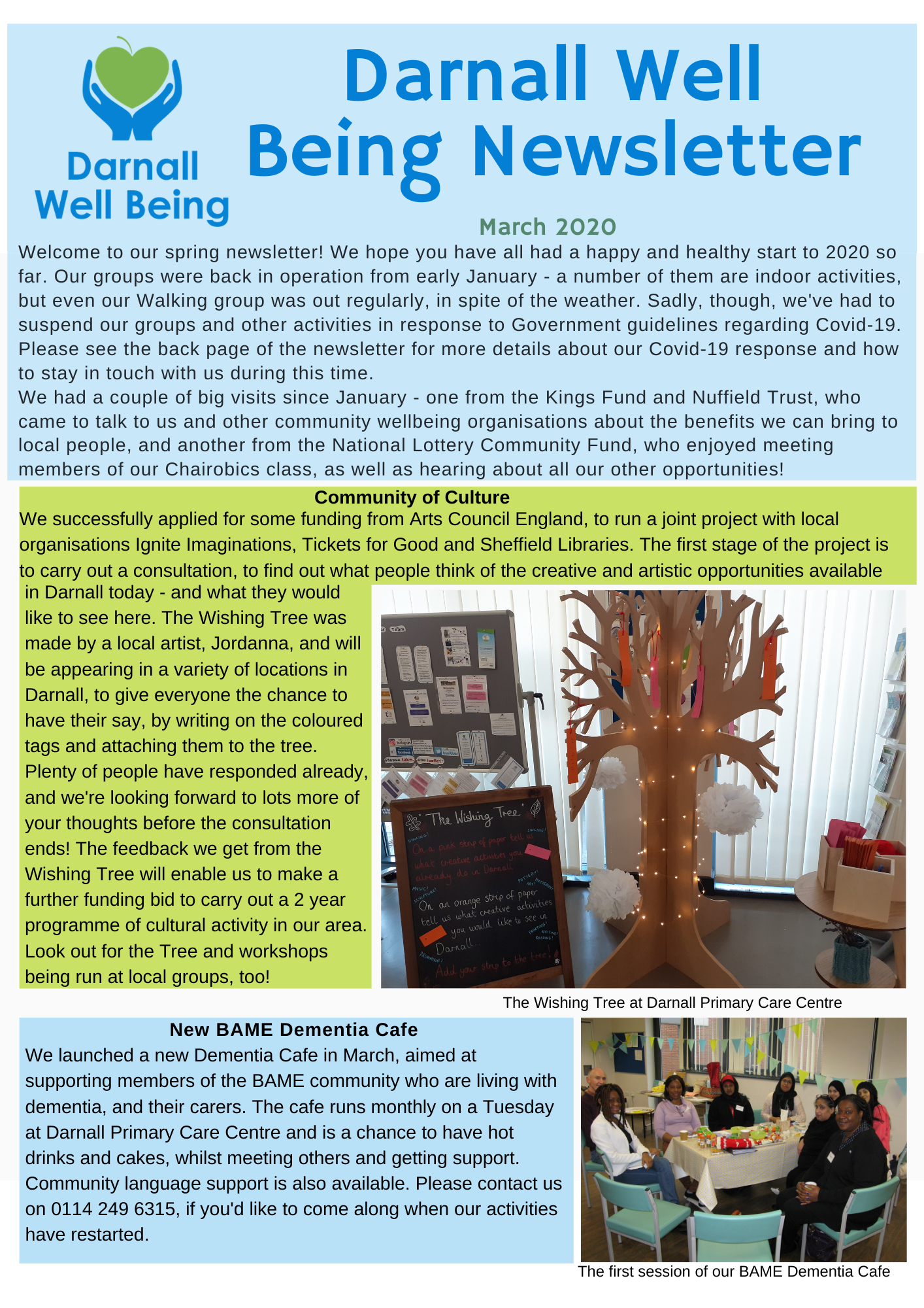 Screenshot of Darnall Well Being Newsletter March 2020 page 1