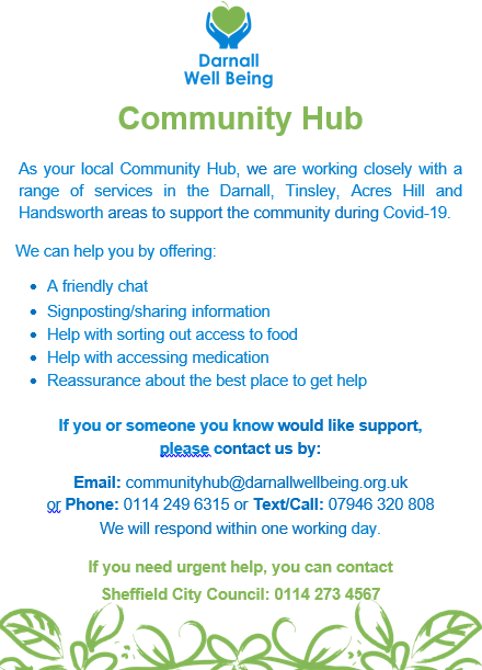 Poster announcing the DWB is acting as a Community Hub during Covid-19