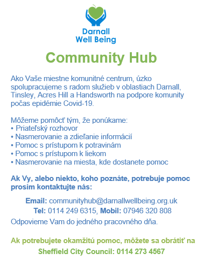 Poster announcing that DWB are a Community Hub during Covid-19 - in Slovak language