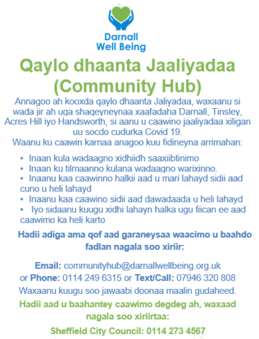 Poster announcing that DWB are a Community Hub during Covid-19 - in Somali language