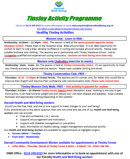 Photo of Tinsley Activity Schedule