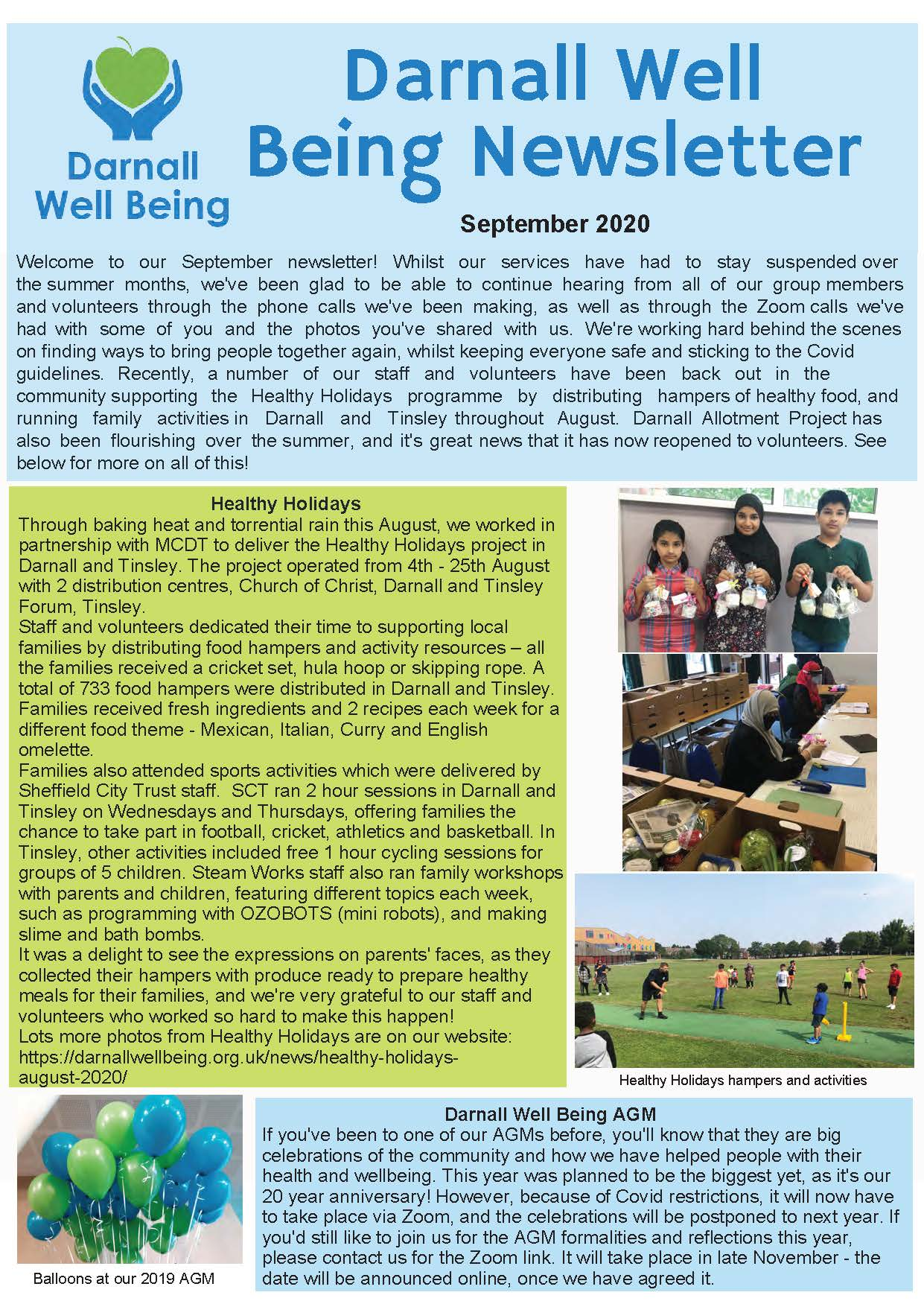 Photo of page 1 of DWB newsletter