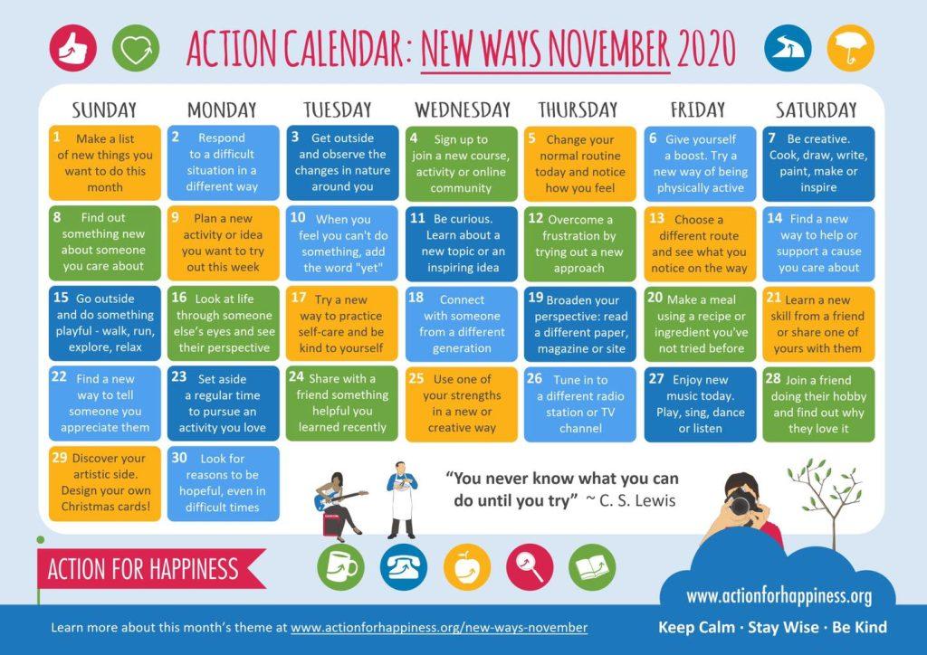 Calendar of positive ideas for November 2020