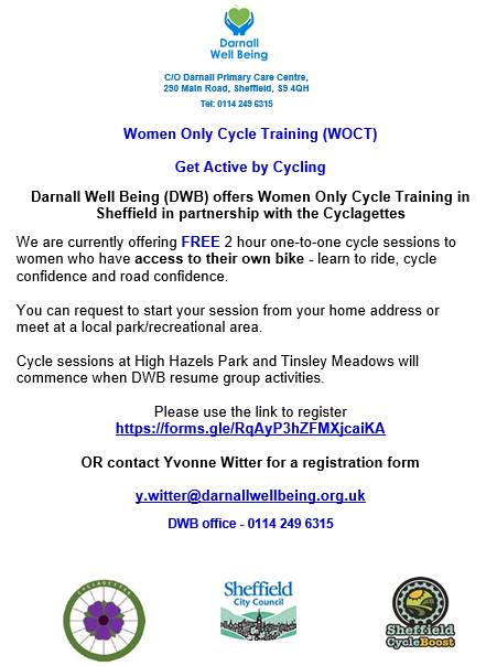 flyer advertising women only cycle training sessions
