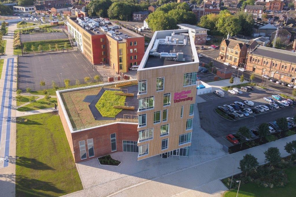arial photo of Sheffield Hallam University AWRC building and surroundings