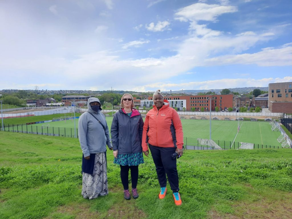 photo of 3 women outside at Sheffield Olympic Legacy Park