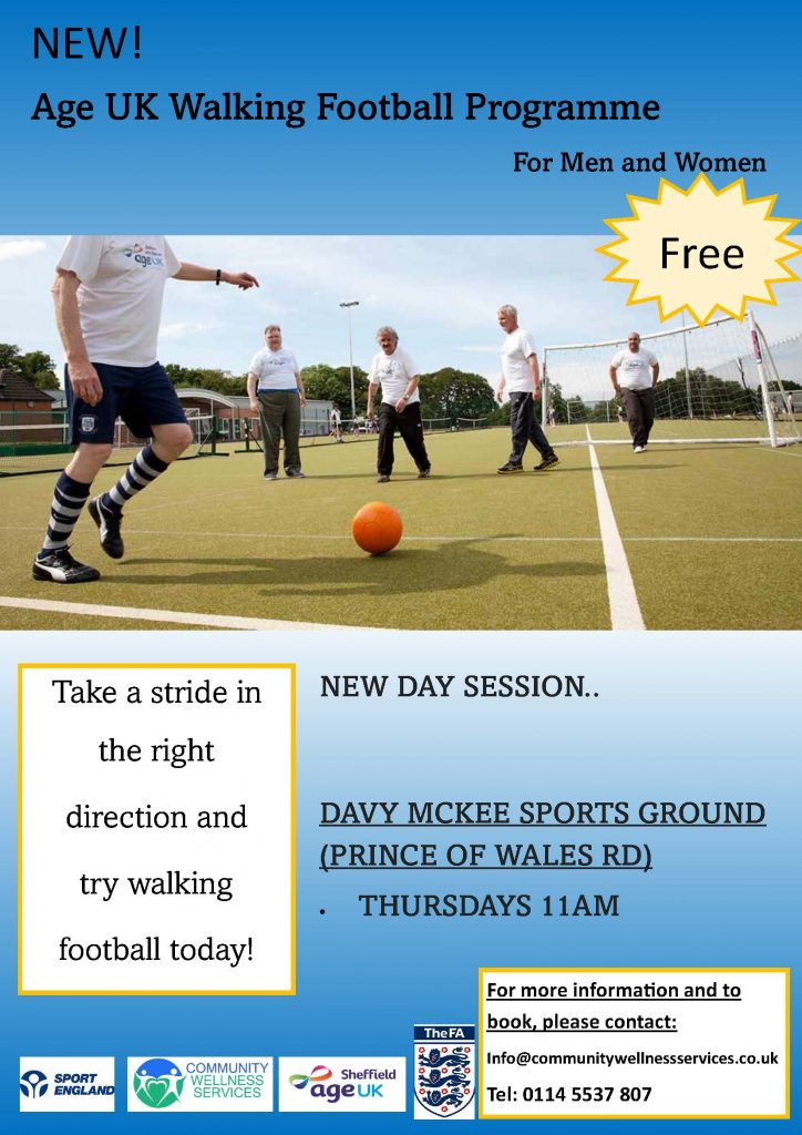 poster advertising walking football sessions