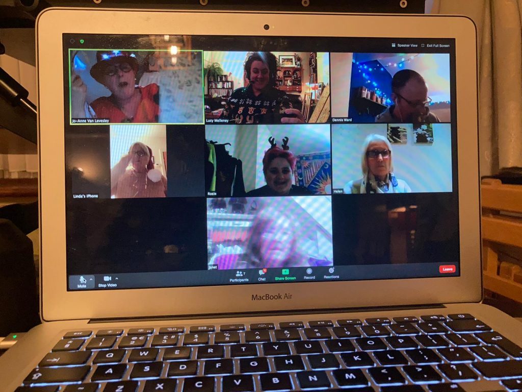 photo of people on a Christmas Zoom call