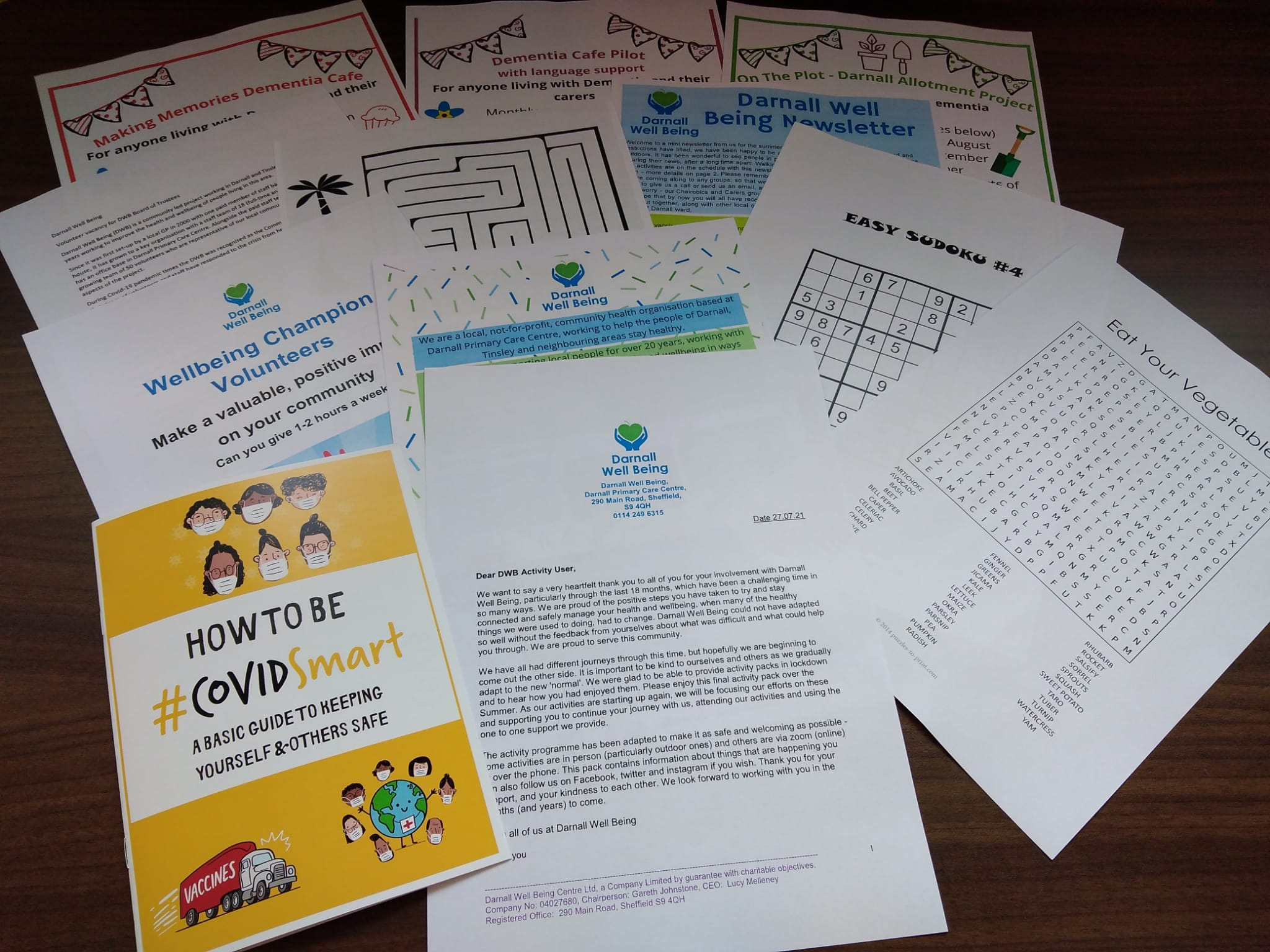 photo of activity sheets on a table