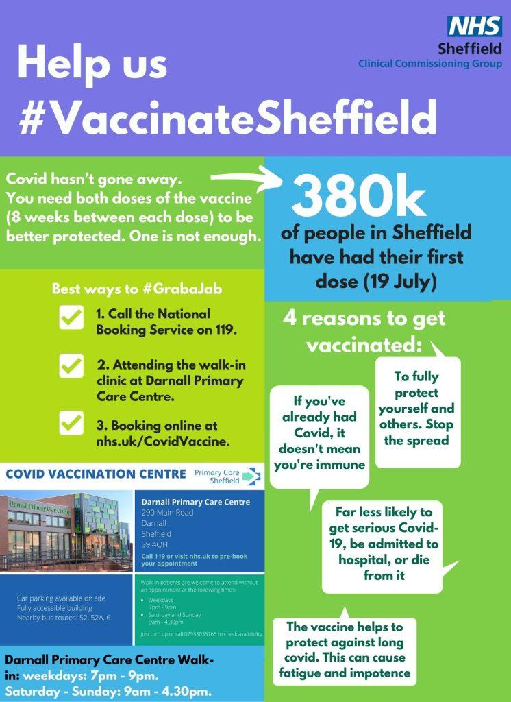 flyer advertising vaccinations in Darnall